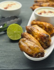 Oven Baked Chicken Wings with Lime Coconut Sauce