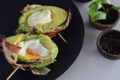 bacon wrapped avocado eggs