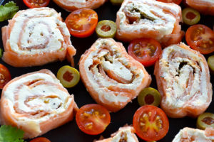 Low Carb Salmon and Cream Cheese Pinwheels