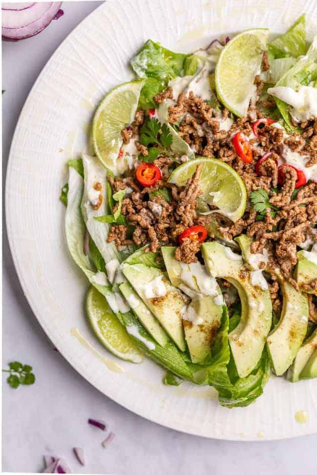 taco salad on a white plate