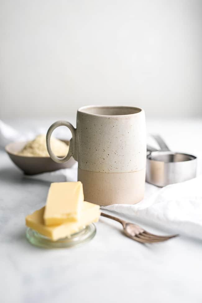 clay mug on a white background