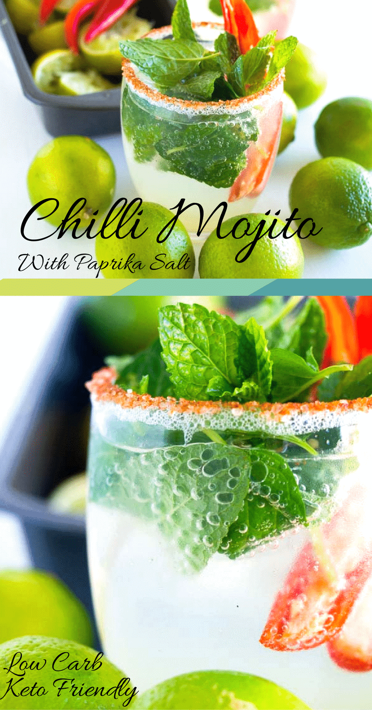 Keto Chilli Mojito is a low carb sensation, suitable for those spicy summer afternoons. The smokey paprika salt ignites the chilli infusion, smoothed out with a cool drop of mint, lime and fresh soda water. This is a drink that will make you want more.