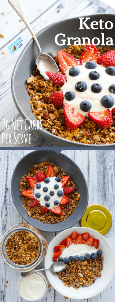 Keto Granola is honestly one of the most exciting recipes on this blog so far, why? because it honestly tastes like norma l granola... It's crunchy, it's semi-sweet and it goes perfectly with some homemade keto yogurt and berries.