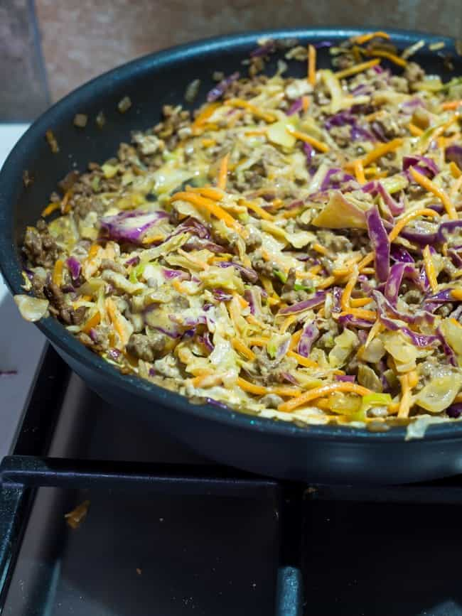 cooked cabbage in a frying pan