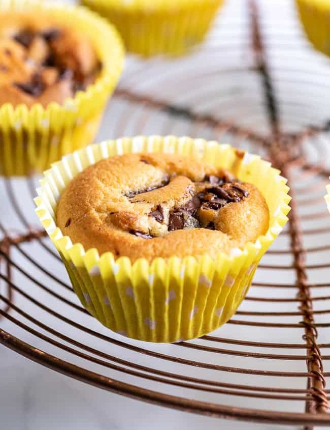 chocolate chip muffin on wire rack