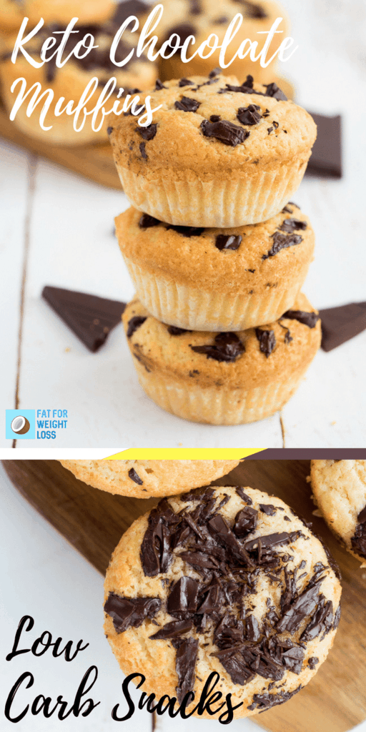 Keto Muffins are a great little snack when you're on the road, or trying to have a healthy little dessert bite that kills those sugar cravings. Because everyone loved the keto chocolate chip cookies so much, I thought these would be a great variation to try. These keto chocolate chip muffins are much easier than the cookies and bake much easier as well.