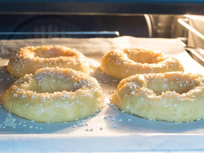 bagels in oven