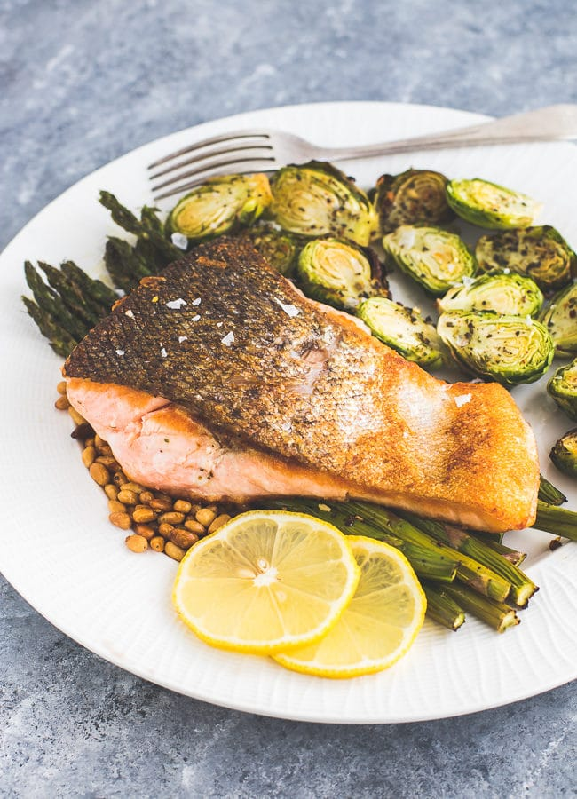 Salmon with Asparagus and Pine Nuts