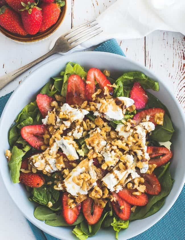 Keto Berry Goats Cheese and Walnut Salad