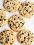 chocolate chip cookies on partchment paper