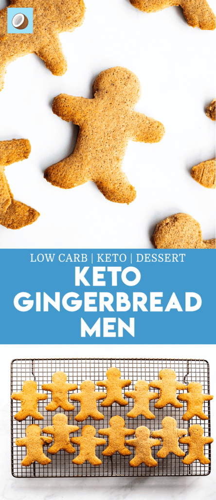 Keto Gingerbread is a favourite dessert around Christmas time. These cookies taste pretty much like the real things, except gluten free! Eat these with plenty of butter to increase the fat content for the macros. It's hard to add too much fat to these cookies whilst baking them, withoutit falling apart! #christmas #ketodessert