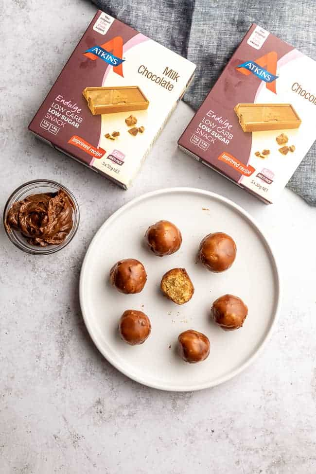 peanut butter balls with atkins box in background