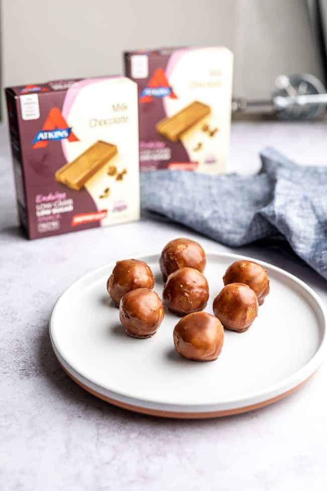 peanut butter balls on white plate