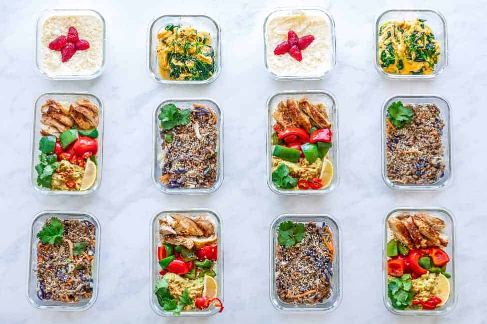 meal prep on white background