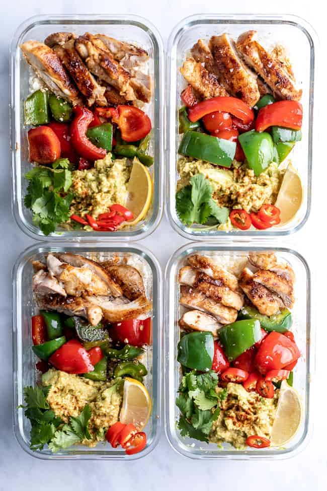 keto meal prep containers on a white background