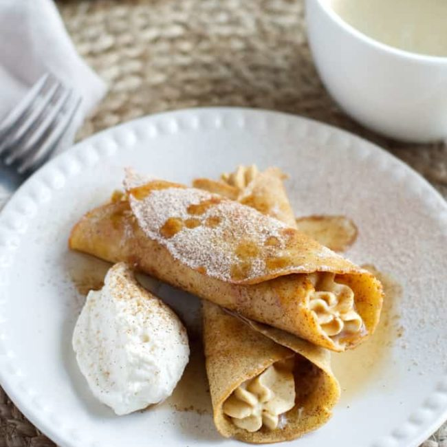 Keto Snickerdoodle Crepes with Pumpkin Mousse