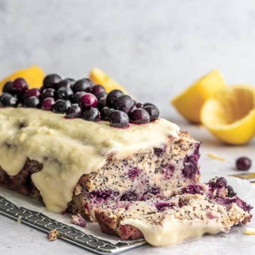 keto lemon poppy seed cake with blueberries
