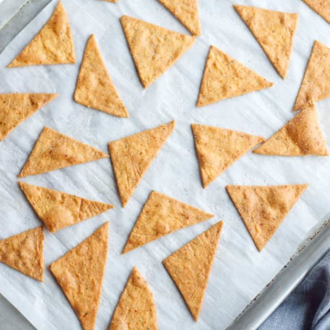Keto Tortilla Chips out of the Oven