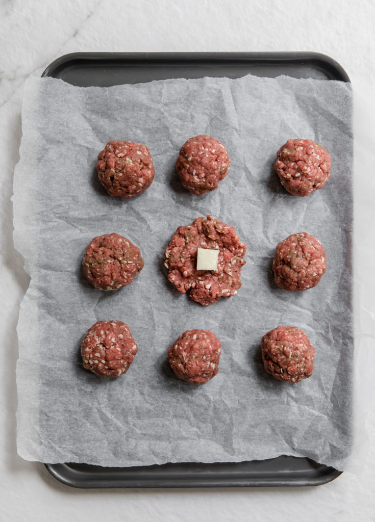 cheese meatballs on tray
